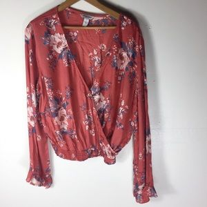 Arizona Floral Wrap Bell Romantic XL Casual Top